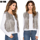 Thick Vests Hand Knitted Rabbit Fur Vest Round Collar  Ladies Outwear Coat V0105