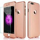 360° Full Protective Hard Thin Cover Case+Tempered Glass For iPhone 6 6+ 7+ X