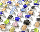 Wholesale Mix Color Cat Eye Gemstone Silver Plated New Men Women Ring Size 6-10