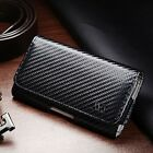 Premium Carbon Fiber Holster Case Magnetic Flip Cover for Smart Cell Phone