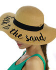NEW! CC Women's Paper Weaved Beach Time Embroidered Quote Floppy Brim CC Sun Hat