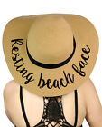 Genuine CC Women's Paper Weaved Beach Time Embroidered Quote Floppy Brim Sun Hat