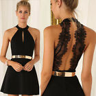Women Sleeveless Halter Contrast Lace Backless Cocktail Party Evening Mini Dress