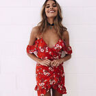 Women's Off-Shoulder Summer Beach Floral Party Evening Cocktail Short Mini Dress