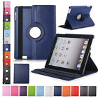 Rotating Leather Smart Cover Hard Back Case Sleep/Wake For Apple iPad 2/3/4