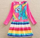 Girls My Little Pony Rainbow Dress Age 3 4 5 6 7 Kids Long Sleeve Party Clothes