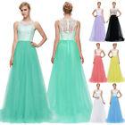 Sleeveless Lace Long Evening Party Prom Ball Gown Bridesmaid Dresses Size 6-20