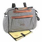 Nappy Diaper Bag Deluxe Black and White Stripe PERSONALISED Bag & FREE Mat