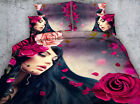 Lady with petals 4 Piece bedding set   -5 sizes available