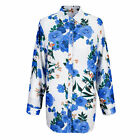 Lady Ethnic Flower Print Shirt Cotton Linen Long Sleeve Button Tunic Blouse Tops