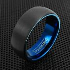 Tungsten Ring Blue Inner Wide Black Brushed Domed Wedding Band Engraveable