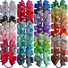 "3.5"" Inch Pinwheel Ribbon Hair Bow Elastic Bobble Ponytail 40 Colours  UK Stock"