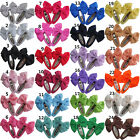 "Pair Of 2"" Inch Ribbon Bow Snap Clips Hair Grips 24 Colours  UK Stock"