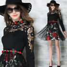 Spring/Autumn Fashion Womens Long Sleeve Lace Embroidery Printed Mini Dress