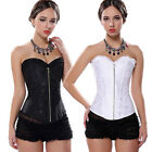 Sexy Lingerie Steel White Zipper Embroidered Corset Overbust Corset Push Up
