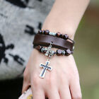 Hot Stylish Faux Leather Punk Bracelet Bangle Cross Pendant Wrap Wristband HF