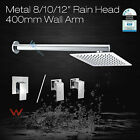 "Metal Ultra Thin 8/10/12"" Rainfall Shower Rose Head Wall Mount Shower Arm Set"
