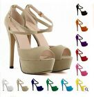 WOMENS PEEP TOE STRAPPY PLATFORM STILETTO LADIES HIGH HEEL SANDAL SHOES
