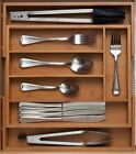 BAMBOO WOODEN EXTENDING CUTLERY TRAY ORGANISER EXPANDABLE DRAWER STORAGE BOX SET
