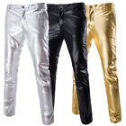 Mens Shining Pants Cool Foiled Print Straight Suit Casual Pants Dance Trousers