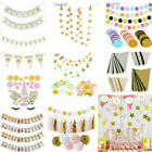 Glitter Gold Sliver Bunting Paper Banner Triangle Flag Party Wedding Supply