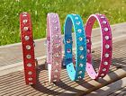 Dog Collar PU Leather Puppy Jack Pug Pom Chi For XS Small Diamante Studded Bling