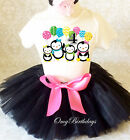 Pink Black Penguin Penguins Girl 4th Birthday Tutu Outfit Shirt Set Party dres