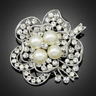 Vintage Style Silver Gold Plated Crystals Imitation Pearl Brooch Pin