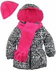 Pink Platinum Toddler Girls Puffer Coat with Animal Print Scarf and Hat Gift