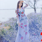 Womens Embroidered Fairy Long Sleeve Lace Dress V-neck Red Flower Princess Dress