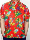 MENS LOUD CHERRY RED PARROT FROND BAND HAWAIIAN WEDDING SHIRT 5 SIZES S - 3XL