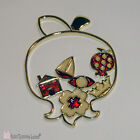 Brass plated Metal Pomegranate Greek Ornament with Red Enamel Colour Luck Charm