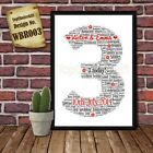 Third 3rd Wedding Anniversary Personalised Present Print wordart greeting poster