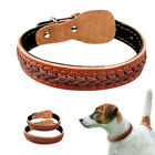 Soft Braided Genuine Leather Pet Dog Collars for Medium Large Breeds Adjustable