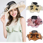 NEW Kentucky Derby Organza Floral Hat Wide Brim Dress Wedding Tea Party Beach