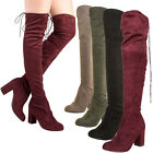 Womens Drawstring Tie Back Lace Up Over The Knee Boot Chunky Block Med High Heel