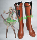 Anime Details about  Shining Hearts The Honey Dew Brown Long Cosplay Shoes
