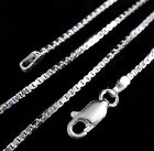 1.5MM Solid 925 Sterling Silver Italian Venetian BOX CHAIN Necklace Italy  image