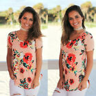 Fashion Women's Casual Short Sleeve Crew Neck Floral Slim Comfy T-shit Tops Lady