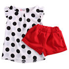 2PCS Infant Kids Toddler Girls Dot Tops Red Shorts Outfits set Clothes Summer