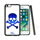 Retro Blue Skull Candy Grip Side Gel Case Cover For All Top Mobile Phones