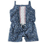 Carter's Navy Allover Floral Printed Romper with Embroidered Yoke