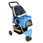 Pet Stroller 3 Wheels Comfortable Cart Dog Durable Carrier With Storage Basket