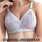 NEW WHITE LACE NON WIRED LIGHTLY PADDED CROSS YOUR HEART STYLE BRA, ALL SIZES