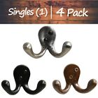 Decorative Iron Double (2) Arm Wall Hook   Matching Screws Included