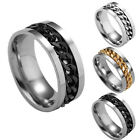 Fashion Women Mens Steel Rotatable Chain Band Ring Finger Spinner Ring Toys Best