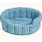 Small / Large Round Fabric Sky Blue Gingham Dog / Cat / Pet Bed by Win Green