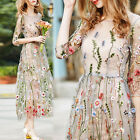 Women's Casual Beach Embroidery Floral Pattern See Through Maxi Dress+1*TOP NEW