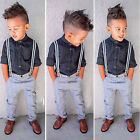 3PCS  Kids Baby Boys Gentleman Shirt Tops+Braces+Pants Clothes Outfit 1-6 years