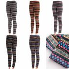 Leggings Insulated Tribal Aztec Pattern Multicolor Warm Fleece Lining Chic Cute